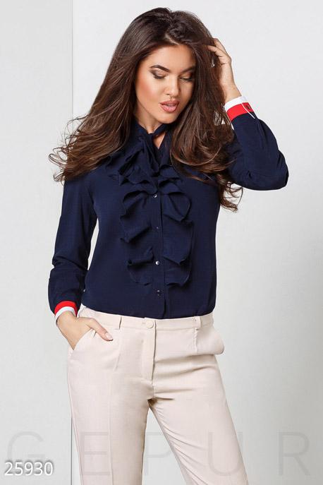 Купить Свитера / Блузы, рубашки, Женская блуза жабо, Блуза(батал)-25930, GEPUR, темно-синий