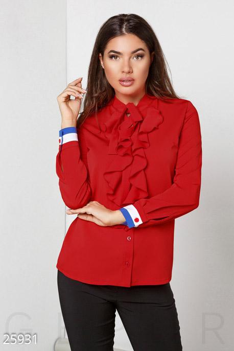 Купить Свитера / Блузы, рубашки, Женская блуза жабо, Блуза(батал)-25931, GEPUR, ярко-красный