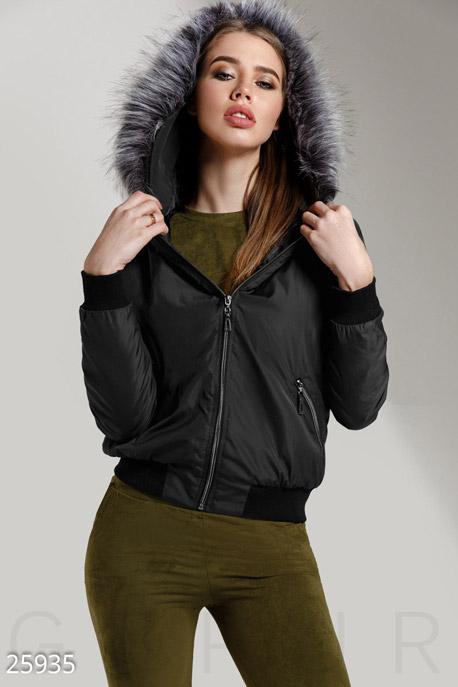 Купить Верхняя одежда / Ветровки, Утепленный женский бомбер, Куртка-25935, GEPUR, черный