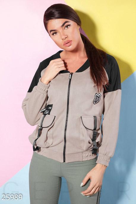 Купить Верхняя одежда / Ветровки, Двухцветная куртка-бомбер, Куртка-25989, GEPUR, бежево-черный
