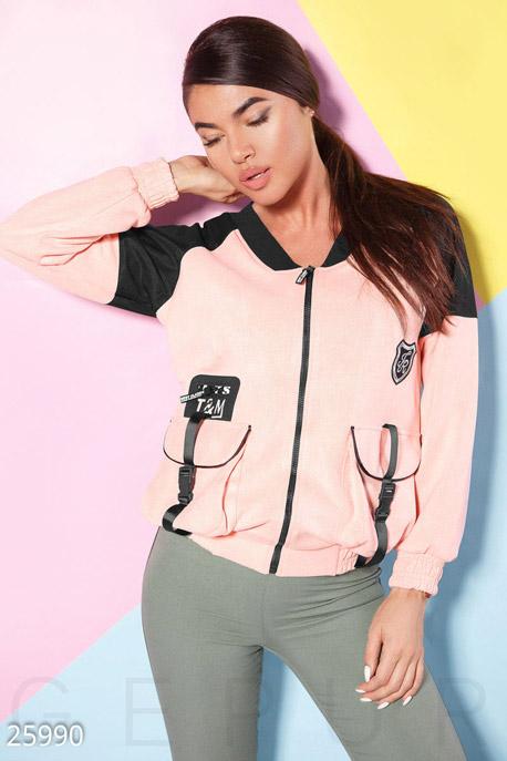 Купить Верхняя одежда / Ветровки, Двухцветная куртка-бомбер, Куртка-25990, GEPUR, розово-черный
