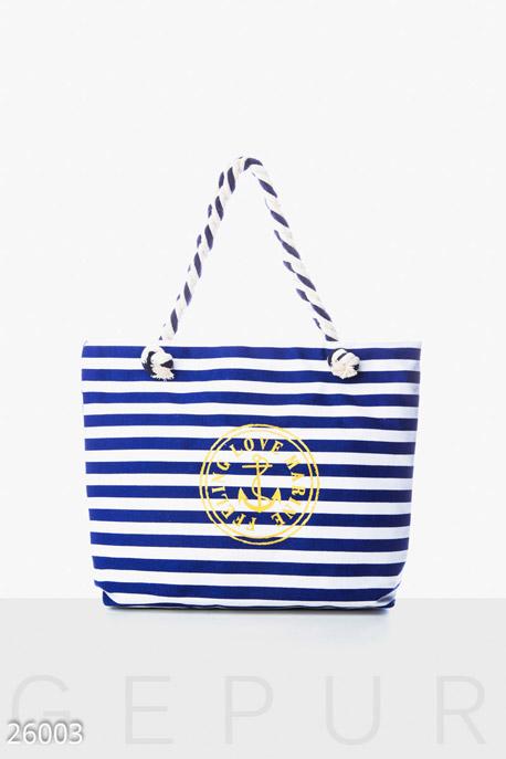 Купить Сумки, клатчи, кошельки / Сумки, Холщовая женская сумка, Сумка-26003, GEPUR, сине-белый