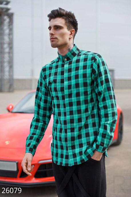 Купить Мужская одежда, Мужская рубашка GPR, Рубашка-26079, GEPUR, зелено-черный