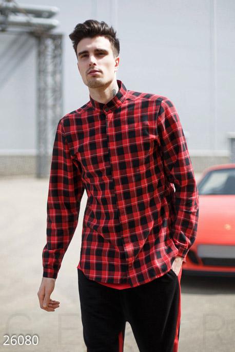 Купить Мужская одежда, Мужская рубашка GPR, Рубашка-26080, GEPUR, красно-черный