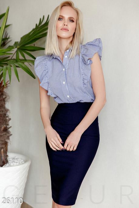 Купить Блузы, рубашки, Рубашка в полоску, Рубашка-26110, GEPUR, сине-белый