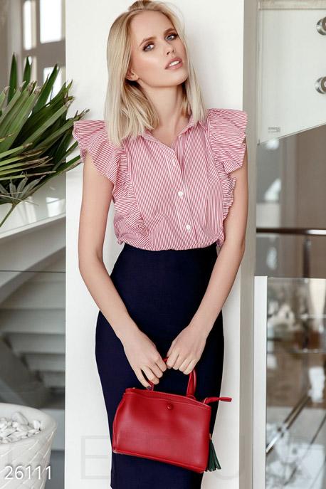 Купить Блузы, рубашки, Рубашка в полоску, Рубашка-26111, GEPUR, красно-белый