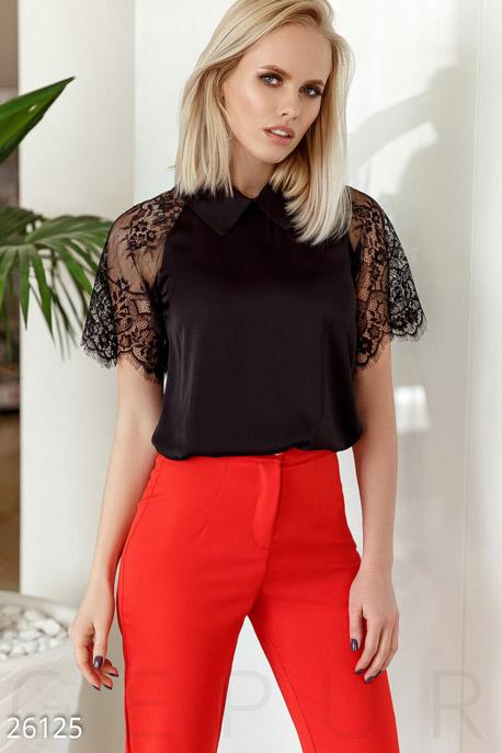 Купить Блузы, рубашки, Расклешенная шелковая блуза, Блуза-26125, GEPUR, черный