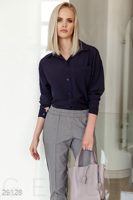 Купить Свитера / Блузы, рубашки, Однотонная блуза-рубашка, Блуза-26128, GEPUR, темно-синий