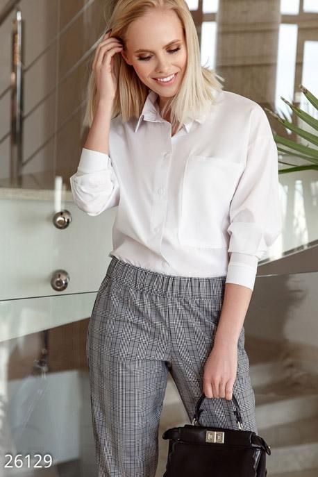 Купить Свитера / Блузы, рубашки, Однотонная блуза-рубашка, Блуза-26129, GEPUR, белый