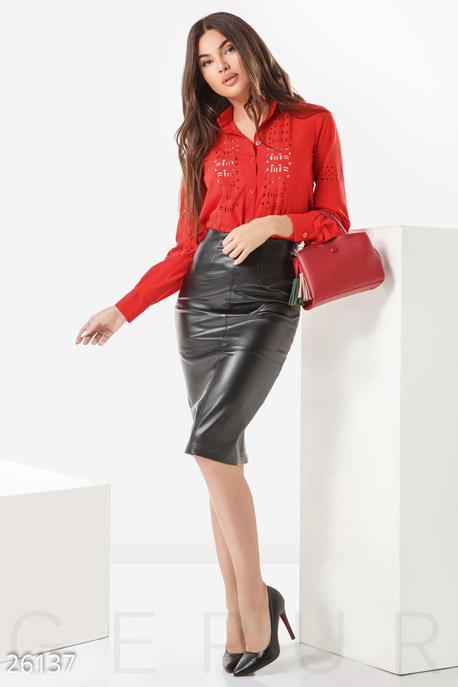 Купить Блузы, рубашки, Женская блуза перфорация, Блуза-26137, GEPUR, ярко-красный