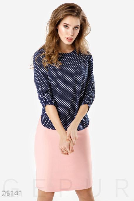 Купить Свитера / Блузы, рубашки, Легкая двухцветная блуза, Блуза-26141, GEPUR, сине-белый