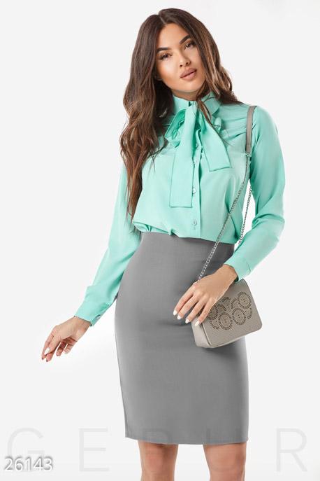 Купить Блузы, рубашки / Большие размеры, Женская блуза бант, Блуза-26143, GEPUR, мятный