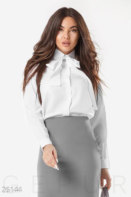 Купить Блузы, рубашки / Большие размеры, Женская блуза бант, Блуза-26144, GEPUR, белый