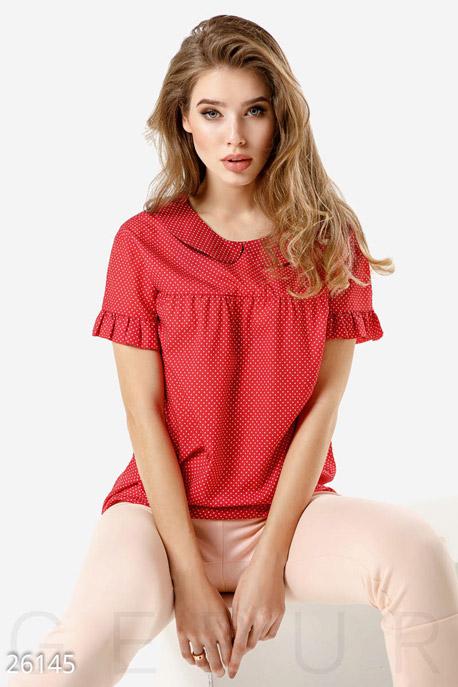 Купить Блузы, рубашки, Летняя блуза горошек, Блуза-26145, GEPUR, красно-белый