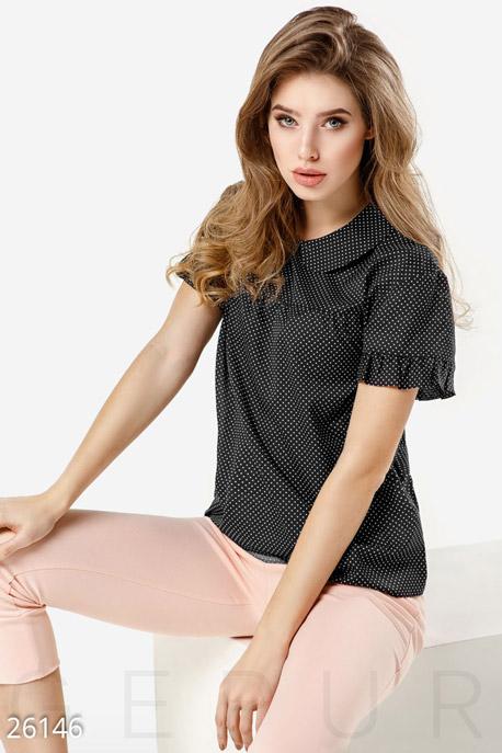 Купить Блузы, рубашки, Летняя блуза горошек, Блуза-26146, GEPUR, черно-белый
