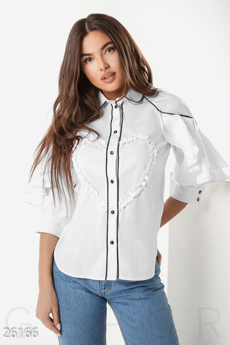 Купить Блузы, рубашки, Эффектная офисная рубашка, Рубашка-26166, GEPUR, белый