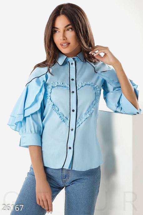 Купить Блузы, рубашки, Эффектная офисная рубашка, Рубашка-26167, GEPUR, голубой