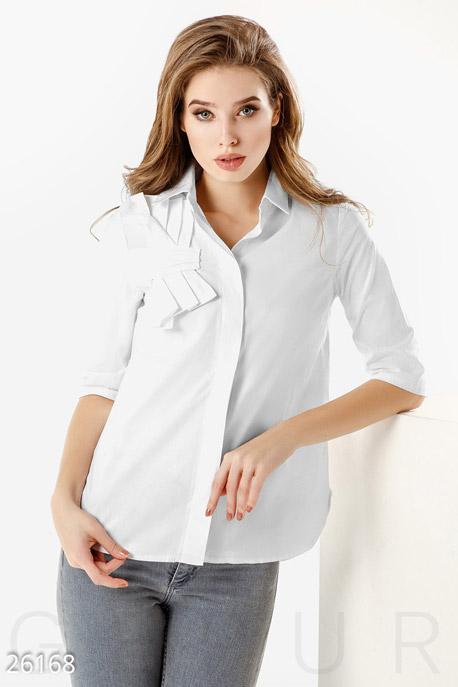 Купить Блузы, рубашки, Однотонная офисная рубашка, Рубашка-26168, GEPUR, белый