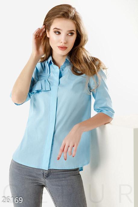 Купить Блузы, рубашки, Однотонная женская рубашка, Рубашка-26169, GEPUR, голубой