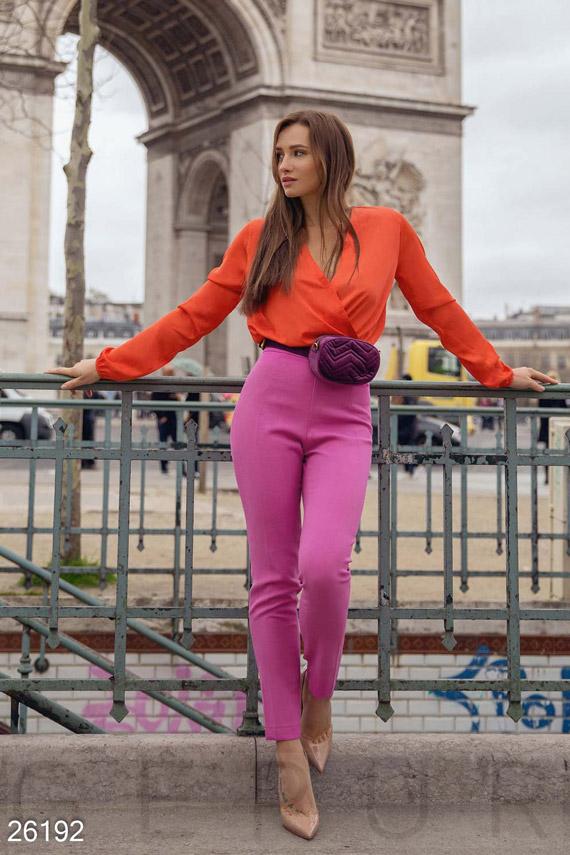 Купить Брюки, леггинсы, шорты / Брюки, Высокие женские брюки, Брюки-26192, GEPUR, фуксия