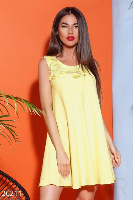 Купить Платья / Мини, Короткое платье-клеш, Платье-26211, GEPUR, ярко-желтый