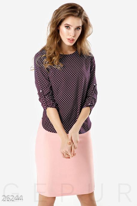 Купить Свитера / Блузы, рубашки, Легкая двухцветная блуза, Блуза-26244, GEPUR, бордово-белый