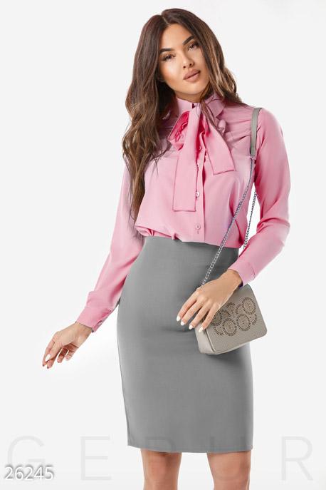 Купить Блузы, рубашки / Большие размеры, Женская блуза бант, Блуза-26245, GEPUR, розовый