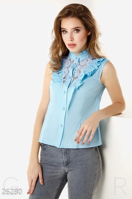 Купить Свитера / Блузы, рубашки, Летняя рубашка кружево, Рубашка(Батал)-26280, GEPUR, голубой