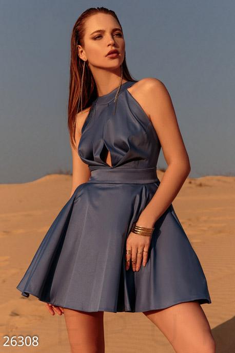 Купить Платья / Мини, Пышное монохромное платье, Платье-26308, GEPUR, небесно-синий