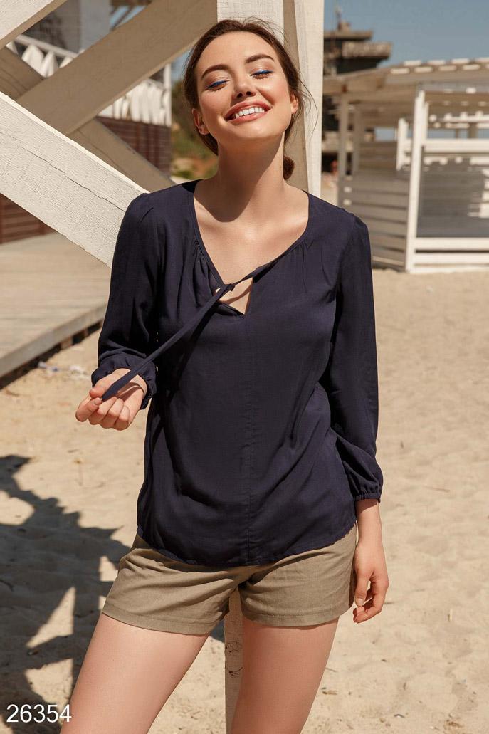Купить Блузы, рубашки, Монохромная летняя блуза, Блуза-26354, GEPUR, темно-синий