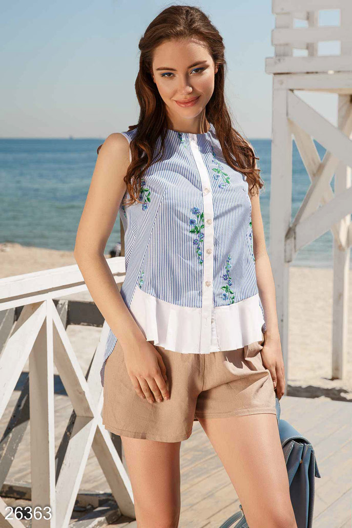 Купить Блузы, рубашки, Летняя рубашка-клеш, Рубашка-26363, GEPUR, сине-белый