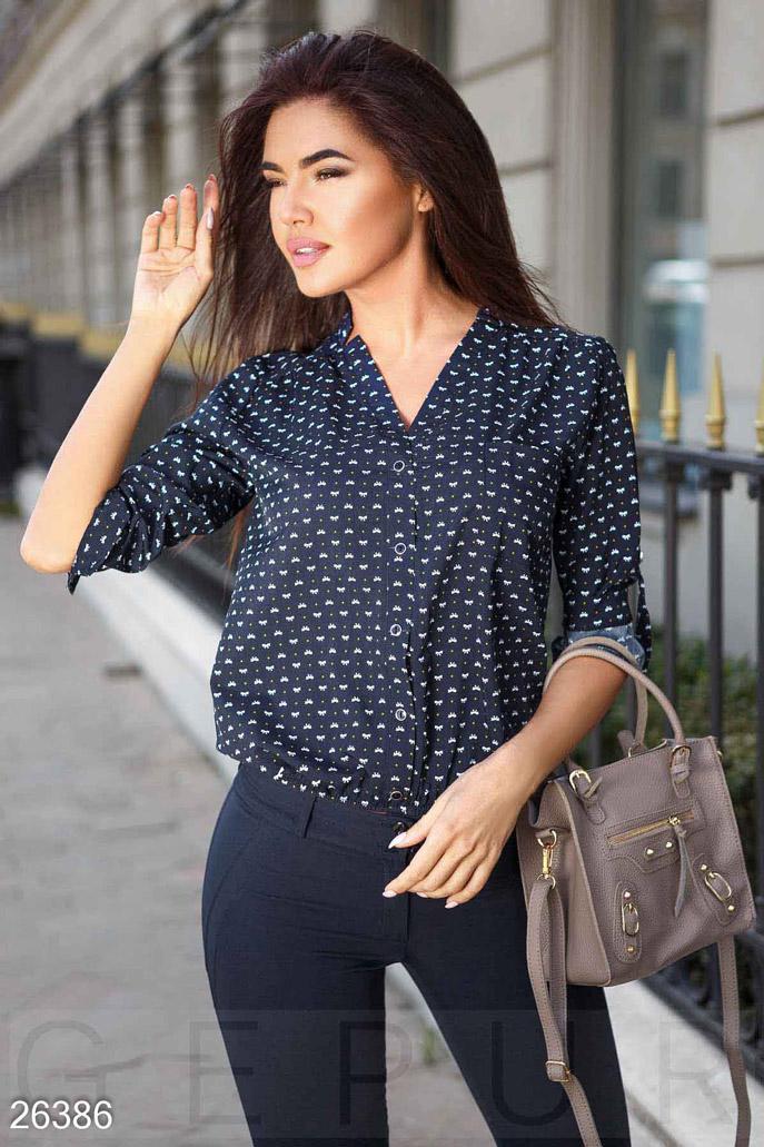 Купить Свитера / Блузы, рубашки, Блуза с принтом, Блуза-26386, GEPUR, темно-синий
