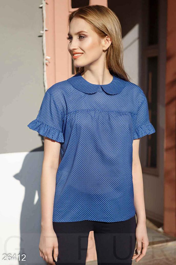 Купить Блузы, рубашки, Летняя блуза горошек, Блуза-26412, GEPUR, сине-белый