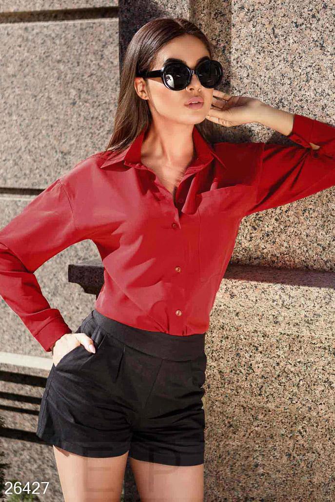Купить Блузы, рубашки / Большие размеры, Однотонная блуза-рубашка, Блуза-26427, GEPUR, насыщенный красный