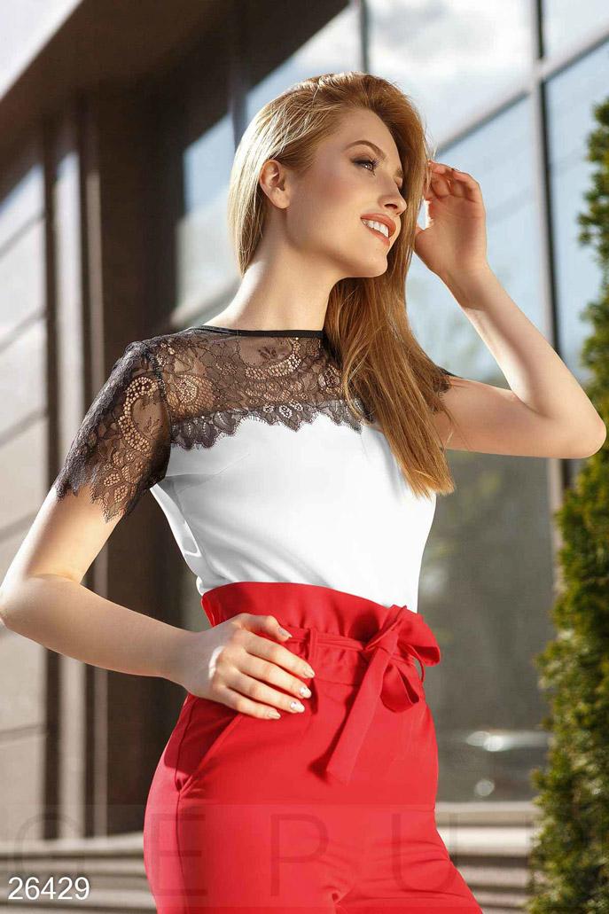Купить Блузы, рубашки, Двухцветная летняя блуза, Блуза-26429, GEPUR, молочно-черный