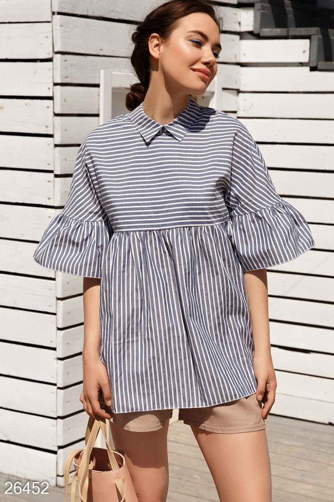 Купить Блузы, рубашки, Летняя блуза-клеш, Блуза-26452, GEPUR, сине-белый