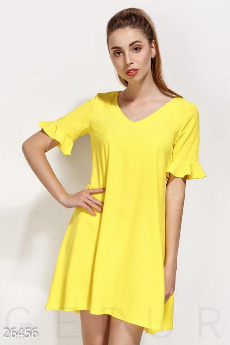 Купить Платья / Мини, Монохромное платье-клеш, Платье-26456, GEPUR, ярко-желтый