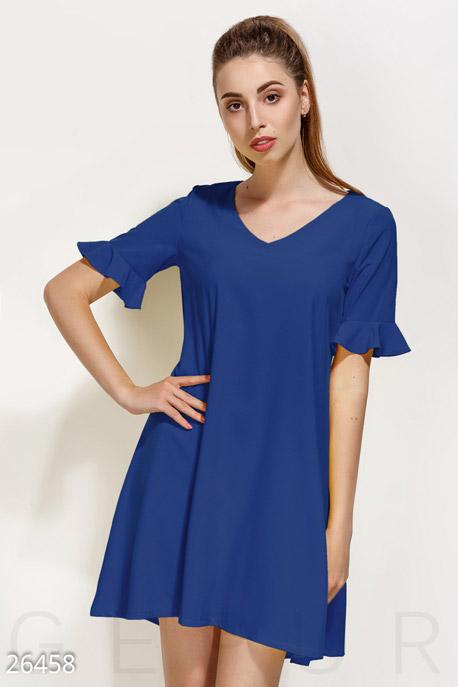Купить Платья / Мини, Монохромное платье-клеш, Платье-26458, GEPUR, синий электрик
