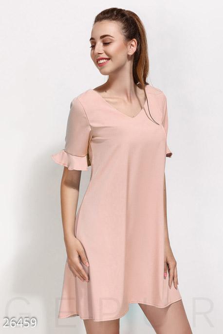 Купить Платья / Мини, Монохромное платье-клеш, Платье-26459, GEPUR, пудрово-розовый