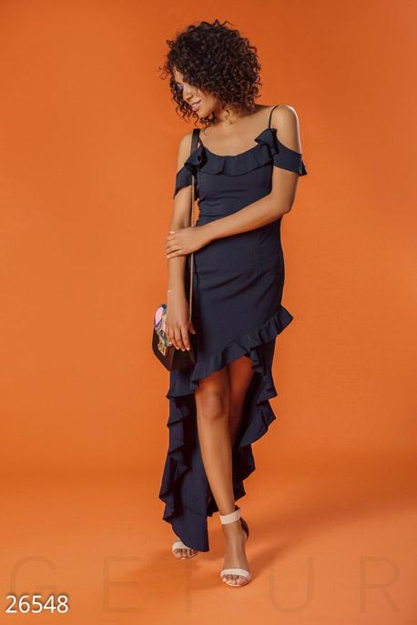 Купить Платья / Большие размеры, Сарафан с оборками, Сарафан-26548, GEPUR, темно-синий