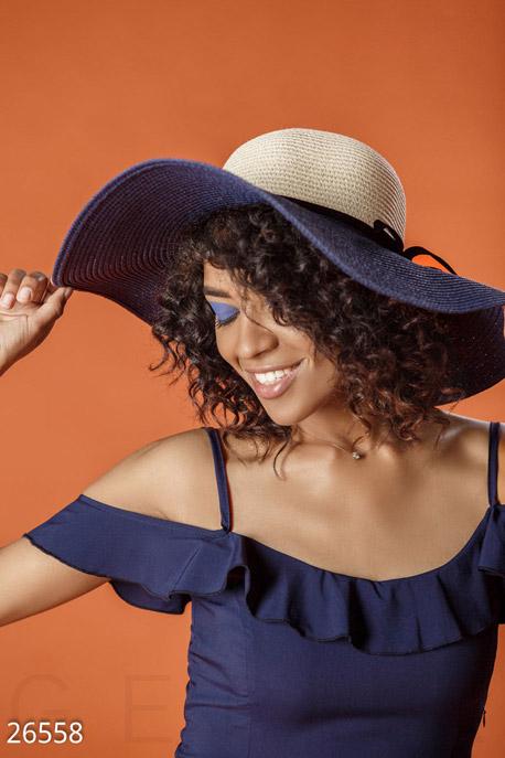 Купить Перчатки, шарфы, шапки / Шляпки, Двухцветная соломенная шляпа, Шляпа-26558, GEPUR, бежево-синий