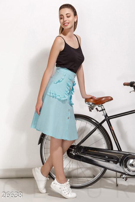 Купить Юбки, Летняя юбка-трапеция, Юбка-26638, GEPUR, нежно-голубой