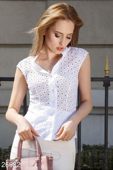 Купить Блузы, рубашки / Большие размеры, Прозрачная летняя блуза, Блуза-26682, GEPUR, белый