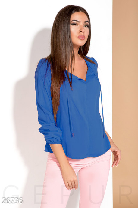 Купить Блузы, рубашки, Монохромная летняя блуза, Блуза-26736, GEPUR, синий электрик