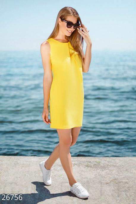 Купить Платья / Мини, Прямое льняное платье, Платье-26756, GEPUR, ярко-желтый