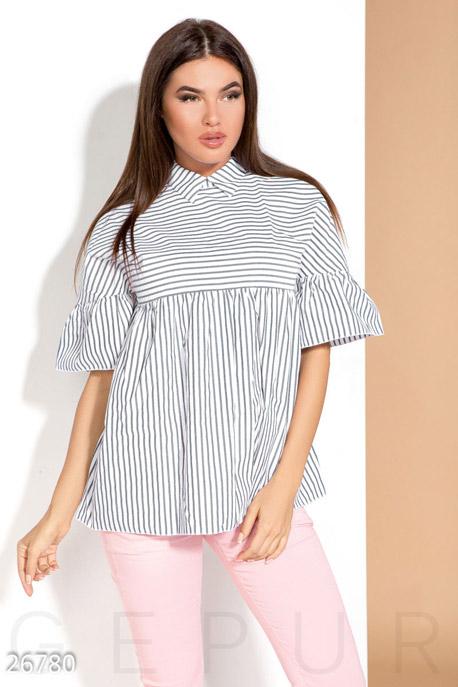 Купить Блузы, рубашки, Летняя блуза-клеш, Блуза-26780, GEPUR, сине-белый