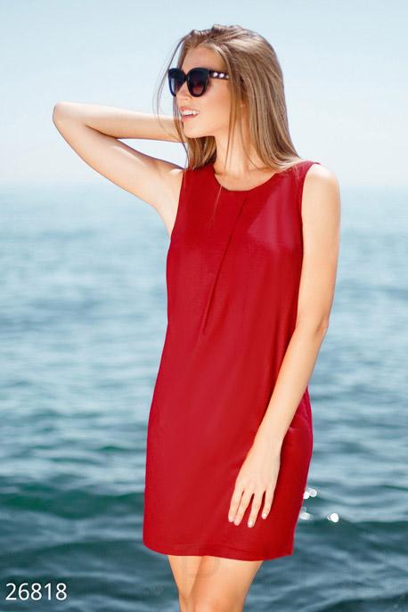 Купить Платья / Мини, Прямое льняное платье, Платье-26818, GEPUR, ярко-красный