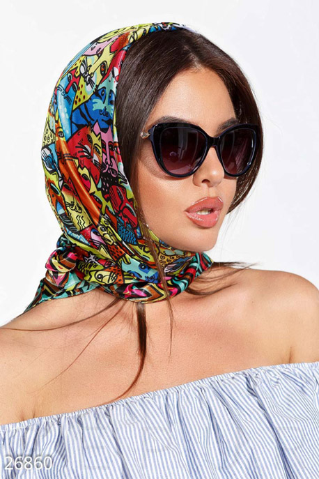 Купить Перчатки, шарфы, шапки / Платки, Шелковый принтованный платок, Платок-26860, GEPUR, мультиколор