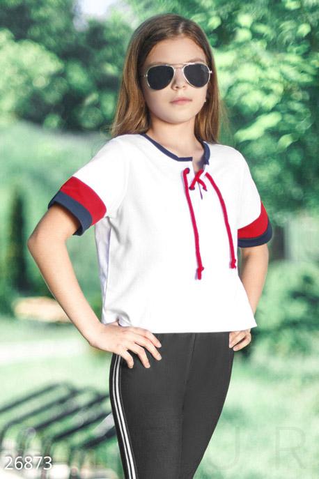 Купить Детская одежда, Укороченная детская футболка, Футболка-26873, GEPUR, белый