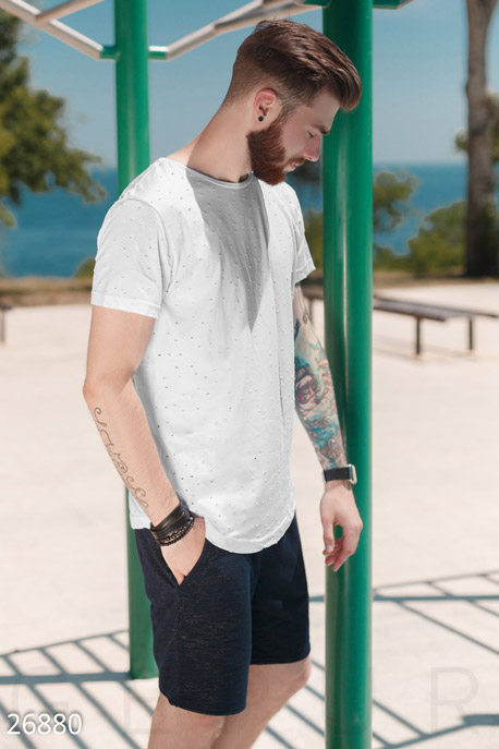 Купить Мужская одежда, Мужская летняя футболка, Футболка-26880, GEPUR, белый